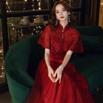 Dress / evening wear Weddings, adulthood parties, company annual meetings, daily appointments Tailor made non exchangeable XS S M L XL XXL claret Korean version longuette middle-waisted Autumn 2020 Fall to the ground stand collar zipper 18-25 years old YM20092 Short sleeve Embroidery Solid color