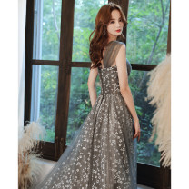 Dress / evening wear Weddings, adulthood parties, company annual meetings, daily appointments XS S M L XL XXL tailor made without return grey Korean version longuette middle-waisted Winter 2020 Self cultivation Chest type Bandage 18-25 years old YM20117 Sleeveless Embroidery Solid color routine other
