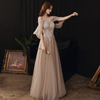 Dress / evening wear Weddings, adulthood parties, company annual meetings, daily appointments XS S M L XL XXL tailor made without return Champagne Korean version longuette middle-waisted Winter 2020 Fall to the ground Deep collar V Bandage 18-25 years old YM20116 Sleeveless Nail bead Solid color