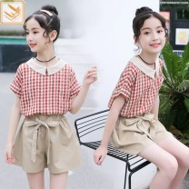 suit Other / other Yellow, red, spot lightning delivery 130cm,140cm,150cm,160cm,170cm female summer leisure time Short sleeve + pants 2 pieces Thin money No model Socket nothing lattice cotton children Learning reward other Other 100% Chinese Mainland Zhejiang Province Wenzhou City