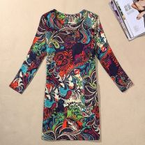 Dress Fall 2017 2XL,3XL,M,XL,L,4XL Middle-skirt singleton  Nine point sleeve street Crew neck Decor Socket routine Type H 81% (inclusive) - 90% (inclusive) Europe and America