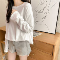 T-shirt white M L XL XXL Autumn 2020 Long sleeves Crew neck easy Medium length routine commute polyester fiber 86% (inclusive) -95% (inclusive) 18-24 years old Korean version youth Sea of life 3504-24 Polyester 95% polyurethane elastic fiber (spandex) 5% Exclusive payment of tmall