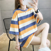 T-shirt Orange green M L XL Summer 2020 Short sleeve Crew neck easy Medium length routine commute polyester fiber 86% (inclusive) -95% (inclusive) 18-24 years old Korean version youth Sea of life Polyester 95% polyurethane elastic fiber (spandex) 5% Exclusive payment of tmall