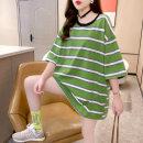 Dress Summer 2021 Green blue M L XL Short skirt Short sleeve 18-24 years old Sea of life More than 95% polyester fiber Polyester 95% polyurethane elastic fiber (spandex) 5%