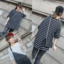 T-shirt Black and white M L XL XXL Summer of 2018 Short sleeve Crew neck easy Regular routine commute polyester fiber 86% (inclusive) -95% (inclusive) 18-24 years old Korean version youth Color matching of thick horizontal stripe and fine horizontal stripe Sea of life Stitching stripe