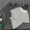 T-shirt Black and white M L XL XXL Summer of 2018 Short sleeve Crew neck easy Regular routine commute Lycra Lycra 86% (inclusive) -95% (inclusive) 18-24 years old Korean version youth Color matching of thick horizontal stripe and fine horizontal stripe Sea of life Splicing