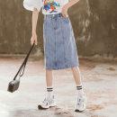 skirt 120cm,130cm,140cm,150cm,160cm,170cm Denim blue Other / other female Polyester 90% viscose 10% No season skirt leisure time Solid color Denim skirt Denim Class B