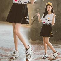 skirt 120cm,130cm,140cm,150cm,160cm,170cm black Yanni Taobei female Cotton 92% polyurethane elastic fiber (spandex) 8% summer skirt Korean version Solid color Pleats cotton Class B
