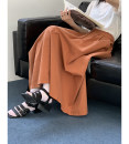 skirt Summer 2021 Average size Brick red longuette Versatile High waist A-line skirt Solid color Type A 18-24 years old 91% (inclusive) - 95% (inclusive) other cotton Pocket, make old 121g / m ^ 2 (including) - 140g / m ^ 2 (including)