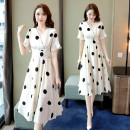Dress Spring 2021 977 # black spot 977 # red spot 977 # white spot on black background M L XL 2XL 3XL Mid length dress 30-34 years old Love Wanyou LWY-977# More than 95% polyester fiber Polyester 100%