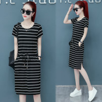 Dress Summer of 2019 M L XL 2XL 3XL 4XL Middle-skirt singleton  Short sleeve commute Crew neck High waist stripe Socket A-line skirt routine 25-29 years old Type A Korean version Pocket tie 30% and below polyester fiber Pure e-commerce (online only)
