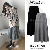 skirt Winter 2020 Average size grey , black , Navy , Light apricot longuette Versatile High waist Pleated skirt Solid color Type A 18-24 years old knitting