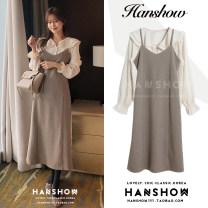 Fashion suit Winter 2020 S,M,L,XL Shirt, suspender skirt 18-25 years old 3283 shirt + 3285 dress#
