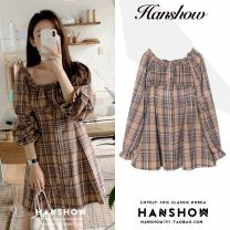 Dress Autumn 2020 Picture color S,M,L,XL Short skirt singleton  Long sleeves commute One word collar High waist lattice Single breasted A-line skirt pagoda sleeve Breast wrapping 18-24 years old Type A Korean version Ruffles, Auricularia auricula, stitching, buttons hemp