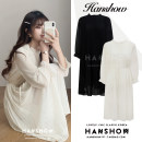 Dress Winter 2020 Black, apricot S,M,L,XL Mid length dress singleton  Long sleeves commute stand collar High waist Solid color Socket Pleated skirt puff sleeve 18-24 years old Type A Korean version Lace up, zipper Chiffon