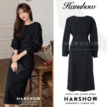 Dress Autumn 2020 black S,M,L Miniskirt singleton  Long sleeves commute Crew neck High waist Solid color Socket A-line skirt Others 18-24 years old Type A Korean version zipper 289# Chiffon