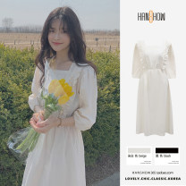 Dress Summer 2021 Off white, black S,M,L,XL Mid length dress singleton  elbow sleeve Sweet square neck Elastic waist Solid color puff sleeve 25-29 years old Type A Lotus leaf edge 51% (inclusive) - 70% (inclusive) cotton solar system