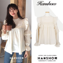 Lace / Chiffon Autumn 2020 Off white S,M,L,XL Long sleeves Sweet Socket singleton  easy Regular stand collar Solid color Lotus leaf sleeve 18-24 years old Mori