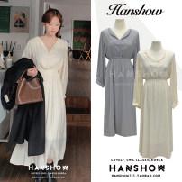 Dress Winter 2020 Apricot, grey S,M,L,XL Mid length dress singleton  Long sleeves commute V-neck Elastic waist Solid color Socket Big swing puff sleeve 18-24 years old Type A Korean version Chiffon