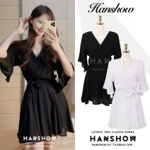Dress Summer 2020 White, black S,M,L,XL Short skirt singleton  Short sleeve commute V-neck High waist Solid color Socket Big swing Flying sleeve 18-24 years old Type A Korean version Bows, ties, buttons