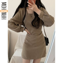 Dress Winter 2020 Khaki, black S,M,L,XL Short skirt singleton  Long sleeves commute square neck High waist Solid color A-line skirt puff sleeve 18-24 years old Type A Korean version Splicing