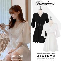 Dress Summer of 2019 White, black S,M,L,XL Short skirt singleton  Short sleeve commute V-neck High waist Solid color Socket A-line skirt Flying sleeve 25-29 years old Type A Other / other Korean version Lace, lace 81% (inclusive) - 90% (inclusive) Chiffon