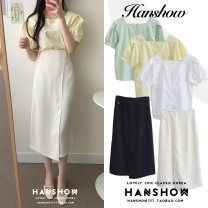 Fashion suit Summer 2020 S,M,L,XL White top, green top, yellow top, black skirt, Khaki Skirt 18-25 years old 097+167