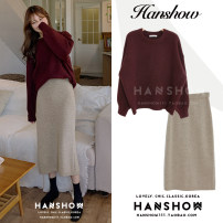 sweater Winter 2020 Average size Khaki, Burgundy, apricot Long sleeves Socket Two piece set Medium length other 81% (inclusive) - 90% (inclusive) Crew neck Thin money commute bishop sleeve Solid color Bat type Heavy wool Keep warm and warm 25-29 years old