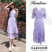 Dress Summer 2020 violet S,M,L,XL Mid length dress singleton  Short sleeve commute V-neck High waist Broken flowers A-line skirt puff sleeve 18-24 years old Type A Korean version Panel, zipper 500# More than 95% Chiffon other