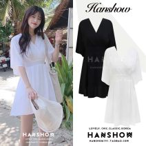 Dress Summer of 2019 White, black S,M,L,XL Short skirt singleton  Short sleeve commute V-neck High waist Solid color zipper A-line skirt Flying sleeve 18-24 years old Type A Other / other Korean version Bows, bandages, zippers 51% (inclusive) - 70% (inclusive) Chiffon