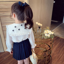 suit Mimihello white 90cm,100cm,110cm,120cm,130cm,140cm,150cm female spring and autumn Korean version Long sleeve + skirt 2 pieces routine There are models in the real shooting Socket nothing Solid color other children Giving presents at school QS21258 Class B Other 100% Chinese Mainland