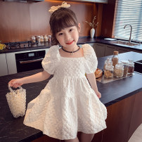 Dress white female Mimihello 90cm,100cm,110cm,120cm,130cm,140cm,150cm Other 100% summer Korean version Short sleeve Solid color other A-line skirt QS21241 Class B 2, 3, 4, 5, 6, 7, 8, 9, 10, 11 Chinese Mainland