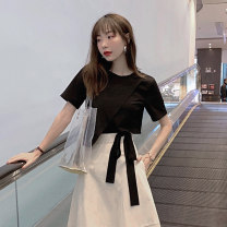 T-shirt White black S M L Summer of 2019 Short sleeve Crew neck easy have cash less than that is registered in the accounts routine commute cotton 86% (inclusive) -95% (inclusive) 18-24 years old Korean version youth Solid color Looking for Jie Cotton 92% polyurethane elastic fiber (spandex) 8%