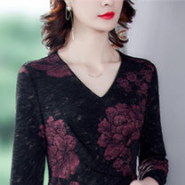 Women's large Winter 2020 Black Gold Black Red Black Green M L XL 2XL 3XL 4XL Dress singleton  commute Socket Long sleeves routine DSX3303 Dai shuxiu 40-49 years old Medium length Polyester 70% other 30% Exclusive payment of tmall other