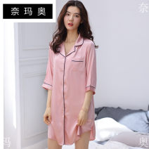 Nightdress Namao XXL L M XL luxurious Middle sleeve Leisure home Short skirt summer Solid color youth Small lapel Polyester (polyester) 81% (inclusive) - 95% (inclusive) 200g and below Autumn of 2018 Polyester 95.00% others 5.00% Pure e-commerce (online only) Other 100.00%