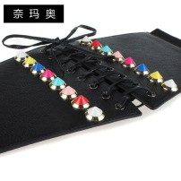 Belt / belt / chain Pu (artificial leather) black female Waistband Versatile Single loop Middle aged youth Smooth button rivet soft surface 12cm alloy Bare rivet candy color elastic Namao FM-1-50 64cm 74cm Spring and summer 2011