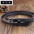 Belt / belt / chain top layer leather Coffee red brown female belt Versatile Single loop Middle aged youth Pin buckle Geometric pattern soft surface 1.4cm alloy Bare cut frosted candy Namao 90cm 95cm 100cm 105cm 110cm Spring and summer 2011