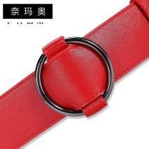 Belt / belt / chain Double skin leather Red and black female Waistband Sweet Single loop youth Smooth button Leather Wrap soft surface 4.8cm alloy alone Namao CTLS-N1691 100cm Spring and summer 2011