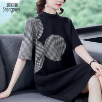 Women's large Spring 2021 black M L XL 2XL 3XL Dress singleton  commute easy moderate Socket elbow sleeve Solid color Korean version Crew neck Medium length other Three dimensional cutting routine European clothes 35-39 years old Three dimensional decoration Medium length Other 100% other