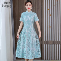 Dress Summer 2021 blue S M L XL 2XL 3XL Mid length dress singleton  Short sleeve commute stand collar High waist Solid color Socket A-line skirt routine Others 35-39 years old Type A European clothes Korean version Embroidery NRJ-2F-E253B-9238 More than 95% other other Other 100%