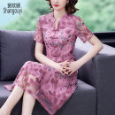 Dress Summer 2021 Pink Blue L XL 2XL 3XL 4XL 5XL Mid length dress singleton  Short sleeve commute V-neck High waist Decor zipper A-line skirt routine Others 40-49 years old Type A European clothes Korean version Embroidery NRJ-1F-141E-9831 More than 95% Lace other Other 100%