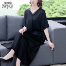 Women's large Summer 2021 black Large L Large XL Large 2XL large 3XL large 4XL Dress singleton  commute easy thin Socket Short sleeve Solid color Korean version V-neck Medium length other Three dimensional cutting routine NRJ-2F-B28-9527 European clothes 40-49 years old Three dimensional decoration