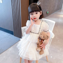 Dress white female Other / other 80cm,90cm,100cm,110cm,120cm,130cm Organic cotton spring Korean version Short sleeve lattice other A-line skirt Class B 2 years old, 3 years old, 4 years old, 5 years old, 6 years old, 7 years old