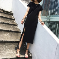 Dress Summer 2021 black S,M,L,XL,2XL Mid length dress singleton  Short sleeve commute Crew neck Loose waist Solid color Socket One pace skirt routine Others 25-29 years old Type H Korean version Split txq-38 91% (inclusive) - 95% (inclusive) cotton