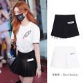 skirt Summer 2020 S,M,L White, black Short skirt Versatile Pleated skirt Solid color Type A 71% (inclusive) - 80% (inclusive) devil beauty cotton fold