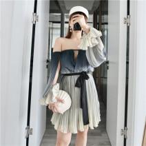 Dress Summer of 2019 Graph color XS,S,M Short skirt Long sleeves Sweet Premonition harmony mini dress