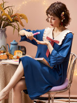 Nightdress NGGGN AA-11462,AA-11461,AA-11460,AA-33401,H-3320,H-3321,H-3322,AA-11500,AA-11501,AA-11502,AA-11503 M, l, XL, XXL Simplicity Middle sleeve Leisure home Middle-skirt summer Solid color youth Crew neck cotton bow More than 95% pure cotton AA-11462 200g and below