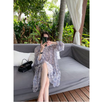 Dress Summer 2021 S M L XL longuette singleton  Long sleeves commute Crew neck Loose waist Decor Socket A-line skirt routine Others 25-29 years old Type H Fayiduo Korean version printing More than 95% Chiffon other Other 100% Pure e-commerce (online only)
