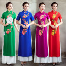 cheongsam Autumn of 2019 XXL, XXXL, s, m, l, XL, 4XL, 5XL, 6xl, customized size, no return, no change Red, purple, blue, green Short sleeve long cheongsam ethnic style High slit perform Round lapel 25-35 years old Embroidery other 96% and above