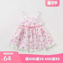Dress Pink printing [in stock] female DAVE&BELLA Cotton 100% summer Europe and America Skirt / vest Broken flowers cotton A-line skirt Class A Summer of 2019 Six months, nine months, twelve months, eighteen months, two years, three years, four years, five years, six years, seven years